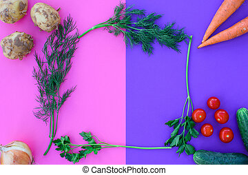 Different vegetables on a colored background.
