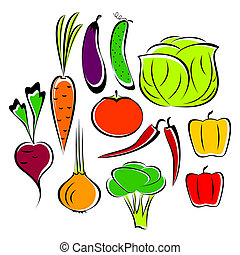 The different drawn vegetables on a white background. Vegetables are united in the set.