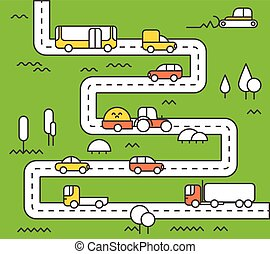Different vehicle on a road. City life minimalism illustration concept