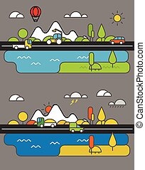 Different vehicle on a road. City life minimalism illustration c