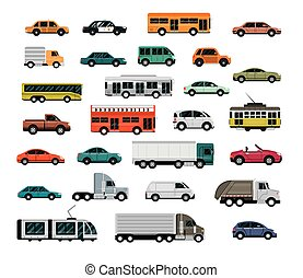 different vehicles, city transport, automobile service, side view cars