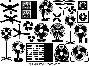 Different ventilator set isolated on white