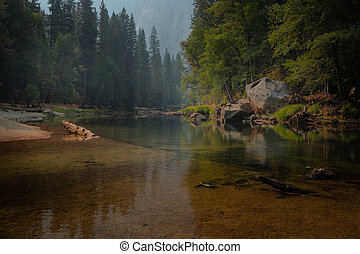 Different view of Merced River with trees at Yosemite National Park