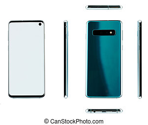 Different views of green smartphone