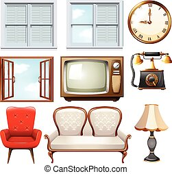 Different vintage furnitures on white illustration