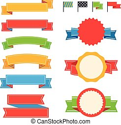 Different vintage ribbons set isolated on white. Ready for a text