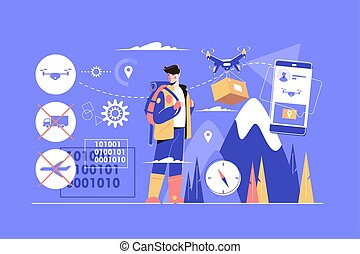Different ways of delivery vector illustration. Modern online services of shipping by plane, truck, drone via mobile application flat style concept. Newest technology concept