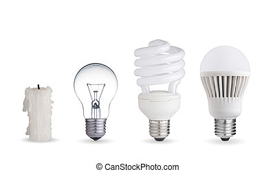 Different ways of illumination - Candle, tungsten bulb, ...