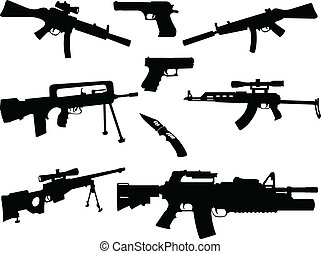 different weapons collection - illustration of different...