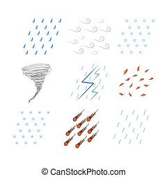 different weather conditions snow, rain, falling leaves, hail, meteor shower