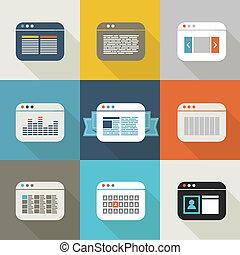 Different web browser icons set vintage style - Design...