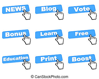 Different Blue Web Buttons with Hand Cursor Isolated on White Background. Internet Concept.