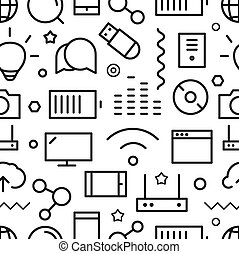 Different web icons seamless pattern. Lineart concept