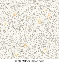 Different web interface color doodle silhouettes seamless pattern