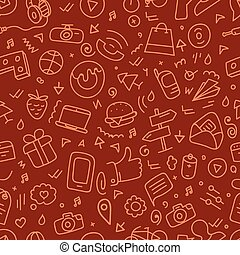 Different web interface doodle silhouettes seamless pattern. Cartoon style