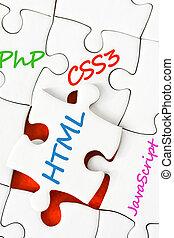 Different WEB languages on puzzle pieces