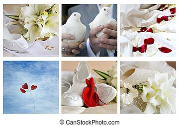 different wedding simbols - collage of different wedding...