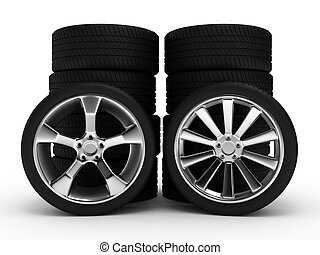 Different wheels with tires isolated on white background