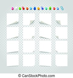 Different white paper stickers collection on transparent background. Template for a text