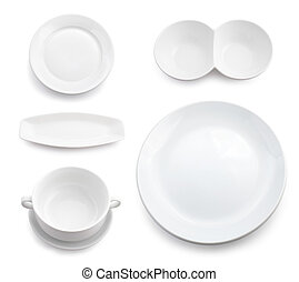 Different white ware. Isolated.