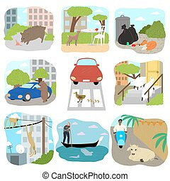 Different wild and farm animals exploring city vector illustration