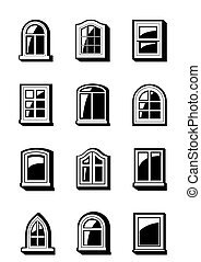 Different windows of buildings