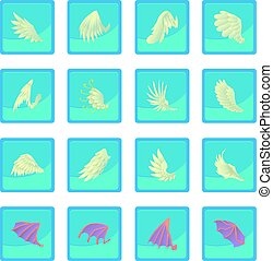 Different wings icon blue app for any design vector...