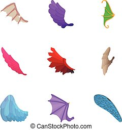 Different wings icons set, cartoon style