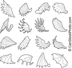 Different wings icons set, outline style