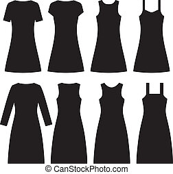 Different women dresses. Vector illustration