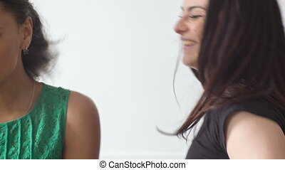 different women's emotions in the studio