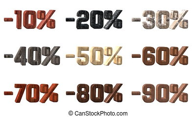 Different Wooden Numbers With Percentage Discount
