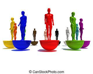 different world - 3d illustration of blue 3d model standing...