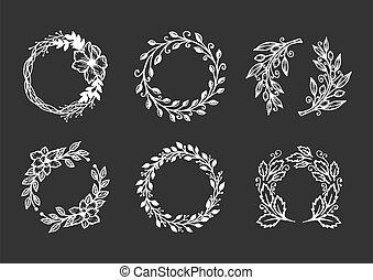 different wreath set on black background