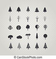 differente, albero, silhouette, vettore, set, isolato, su,...