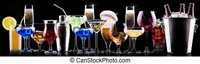 differente, alcool, bibite, set