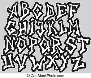 differente, alfabeto, letters., vettore, graffito, font