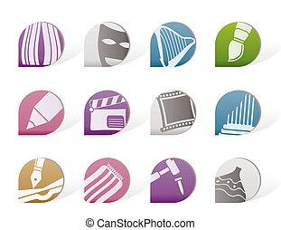 differente, arte, tipo, icone