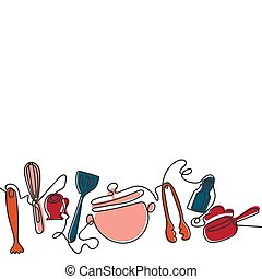 differente, arte, utensils., coltelleria, uno, fondo., vettore, rivestire disegno, cucina