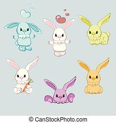 differente, atteggiarsi, cartone animato, coniglio