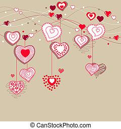 differente, augurio, scheda valentine, cuori, rosso
