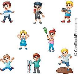 differente, bambini, cartone animato, collezione, attività