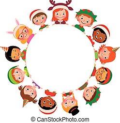 differente, bambini, costumi, isolato, cerchio, fondo, nazionalità, natale bianco