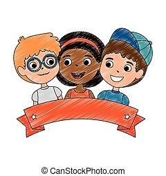differente, bambini, gruppi, etnico