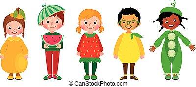 differente, bambini, gruppo, costumi, set, frutte