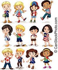 differente, bambini, paesi