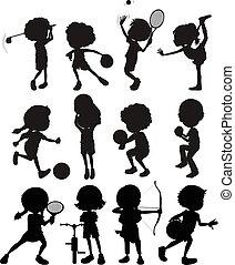 differente, bambini, silhouette, gioco, sport