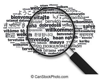 differente, benvenuto, -, lingue, vetro, ingrandendo