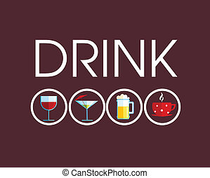 differente, bevanda, bevanda, icone