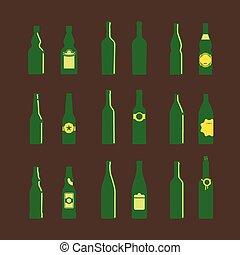 differente, bottiglie, etichette